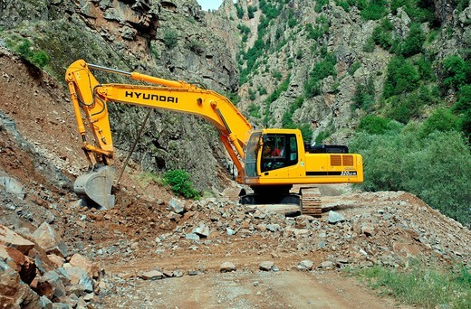 Road construction, Kackar, East Anatolia, Turkey : Stock Photo