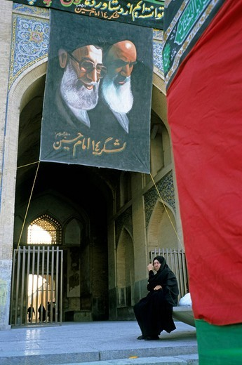 Stock Photo: 1848-500808 Seyed Mohammad Khatami and Khomeini, Aschura rites, Iran