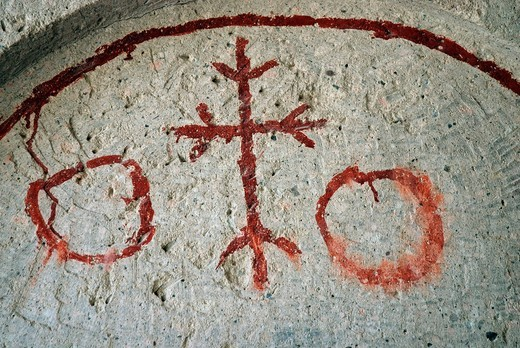 Cappadocian wall mural, depiction of cross, Open_air Museum, Goereme, Cappadocia, Anatolia, Turkey, Asia : Stock Photo
