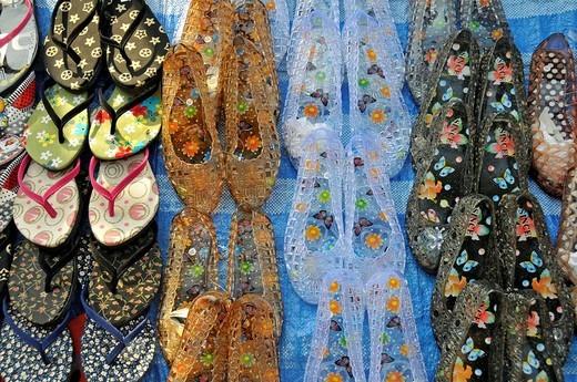 Counterfeit brand shoes, Bangkok, Thailand, Southeast Asia, Asia : Stock Photo