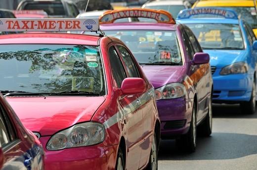 Stock Photo: 1848-501316 Taxis, Chinatown, Bangkok, Thailand, Southeast Asia, Asia