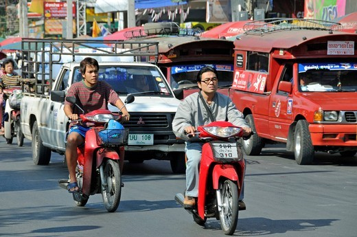 Heavy traffic, Chiang Mai, Thailand, Southeast Asia, Asia : Stock Photo