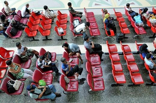 Stock Photo: 1848-501617 People waiting at Hua Lamphong central railway station, Chinatown, Bangkok, Thailand, Southeast Asia