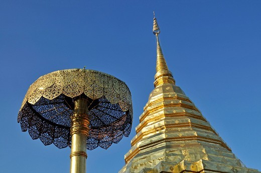 Golden pagoda chedi and golden umbrella symbol of luck and power, Wat Phra That Doi Suthep Temple, Chiang Mai, Thailand, Southeast Asia : Stock Photo