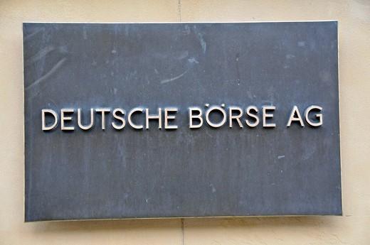 Stock Photo: 1848-501700 Metal sign, Deutsche Boerse AG or German Stock Exchange, Frankfurt, Hesse, Germany, Europe