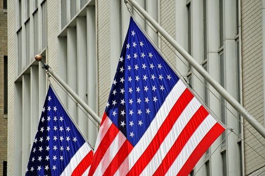 Stock Photo: 1848-501749 US flags, New York Stock Exchange, NYSE, Wall Street, Manhattan, New York City, USA