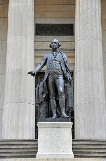 Stock Photo: 1848-501750 George Washington Monument in front of Federal Hall, Wall Street, Manhattan, New York City, USA