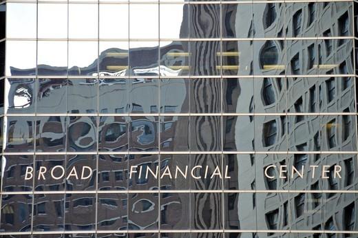 Reflective facade of the Broad Financial Center, Financial District, Manhattan, New York City, USA : Stock Photo