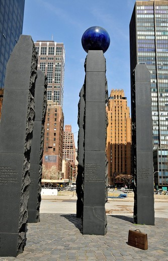 Raoul Wallenberg Memorial, United Nations Plaza, Manhattan, New York City, USA : Stock Photo