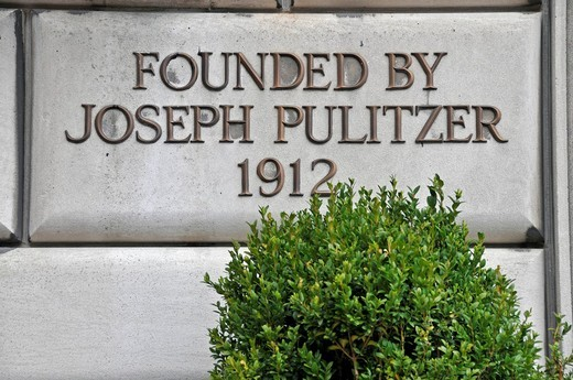 Stock Photo: 1848-501902 Sign, Founded by Joseph Pulitzer 1912, at the entrance to the School of Journalism, Columbia University, Manhattan, New York City, USA