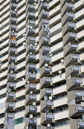 Residential building with balconies and satellite dishes, Chorweiler near Cologne, North Rhine_Westphalia, Germany, Europe : Stock Photo