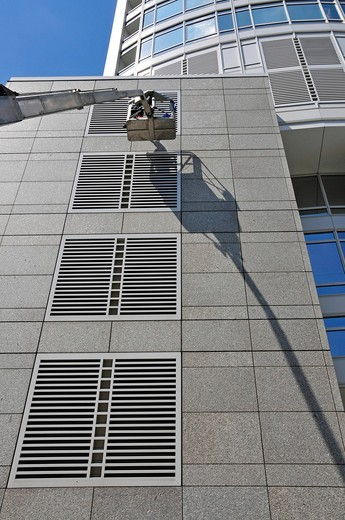 Repair work, DZ Bank AG, Deutsche Zentral_Genossenschaftsbank, German Central Co_operative Bank in the Westendtower, Kronenhochhaus, Frankfurt, Hesse, Germany, Europe : Stock Photo