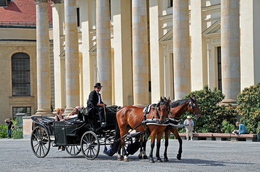 Horse drawn carriage on the Gendarmenmarkt in Berlin, Germany, Europe : Stock Photo
