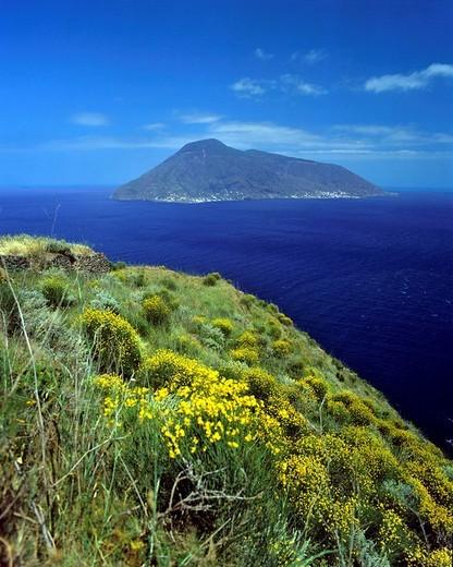 Salina Island viewed from Lipari Island, Aeolian Islands, Sicily, Italy : Stock Photo