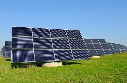World´s largest solar panel field, near Arnstein, Bavaria, Germany, Europe : Stock Photo