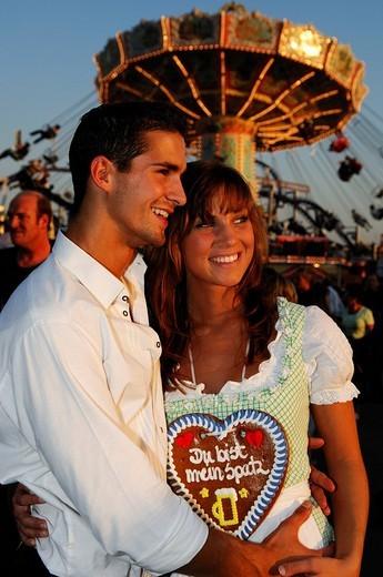 Stock Photo: 1848-50620 Oktoberfest, Wies´n, couple enjoying the Beer Festival, Munich, Bavaria, Germany, Europe