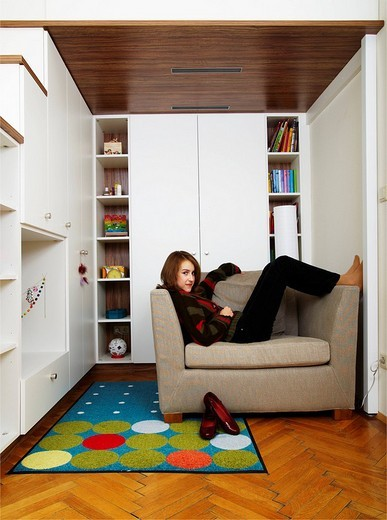 Young girl in her room : Stock Photo