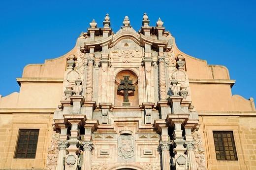 Facade, marble, Sanctuary de la Vera Cruz, Santurio, sanctuary of the true cross, church, castle, museum, cross, Caravaca de la Cruz, sacred city, Murcia, Spain, Europe : Stock Photo