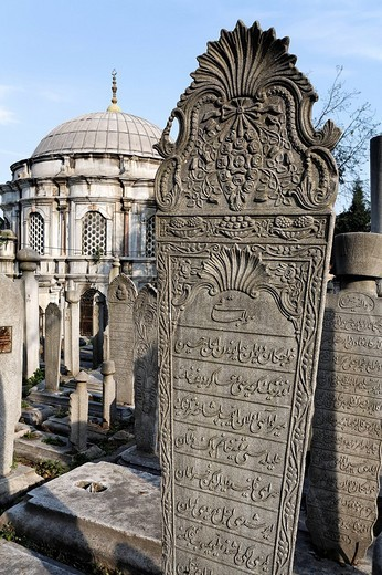 Beautifully decorated Muslim tombstone in front of a mausoleum, Ottoman Baroque style, Eyuep village on the Golden Horn, Istanbul, Turkey : Stock Photo