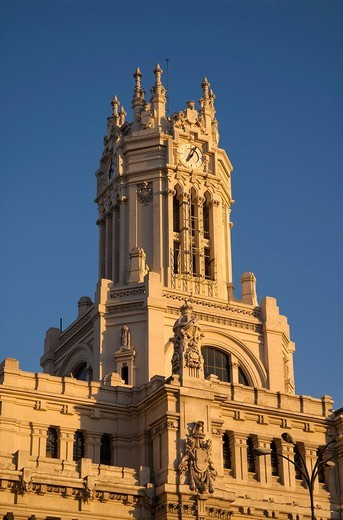 Palacio de Comunicaciones, former general post office of Madrid at Plaza Cibeles, Madrid, Spain : Stock Photo