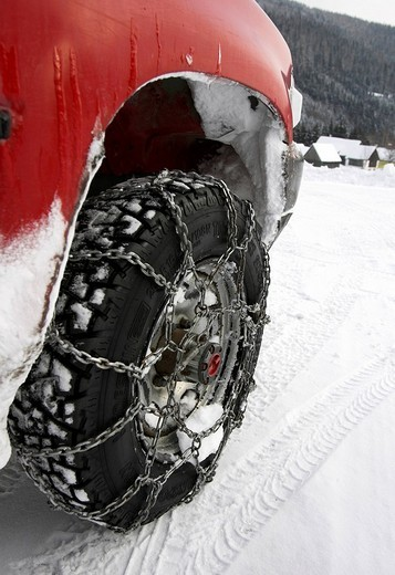 Car with snow chains, Germany. : Stock Photo
