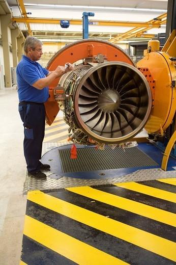 MTU Aero Engines GmbH: production of Eurofighter engines EJ200, MUNICH, GERMANY. : Stock Photo