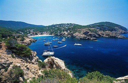 Sailing boats in Cala Vadella, Ibiza, Balearic Islands, Spain : Stock Photo