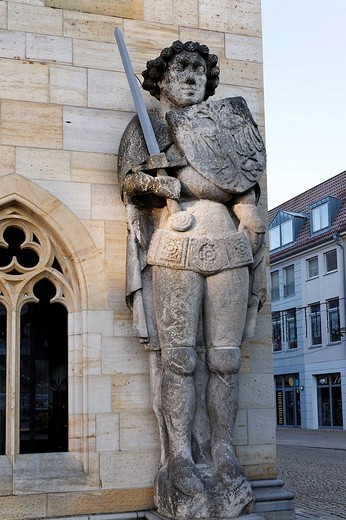 Historic sculpture of Roland on the Old Town Hall, Halberstadt, Harz, Saxony_Anhalt, Germany, Europe : Stock Photo