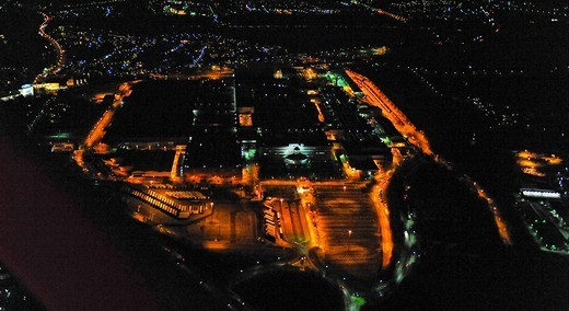 Aerial photo, night shot, Opel car factory plant 1, auto industry, General Motors, Langendreer, Bochum, Ruhr Area, North Rhine_Westphalia, Germany, Europe : Stock Photo