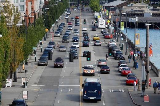 Cityscape on Alaskan Way, Seattle, Washington, USA : Stock Photo