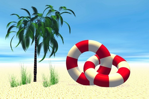 Two life buoys and a palm tree, 3D computer graphics : Stock Photo