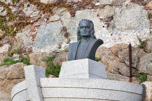 Bust of Columbus, Calvi, Corsica, France, Europe : Stock Photo