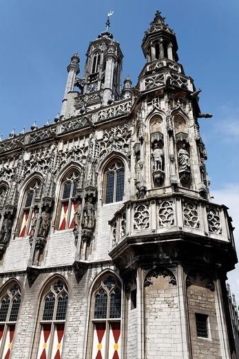 Historic town hall of Middelburg, Walcheren peninsula, Zeeland province, Netherlands, Benelux, Europe : Stock Photo