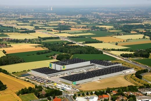 Stock Photo: 1848-529515 Aerial view, Rhynern EDEKA logistics hub, German supermarket chain, Hamm, Ruhrgebiet area, North Rhine_Westfalia, Germany, Europe