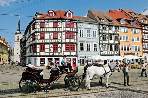 Stock Photo: 1848-529518 Horse_drawn carriage for tourists, Domplatz cathedral square, Erfurt, Thuringia, Germany, Europe