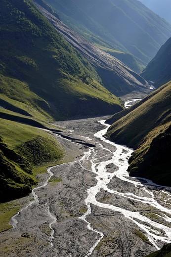 Gorge with Alazanim river, Girevi, Region Tusheti, Georgia, Western Asia : Stock Photo