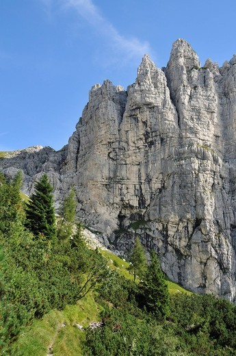 West wall of the Pizocco, Dolomites, Campel, Belluno Province, Veneto, Italy, Europe : Stock Photo
