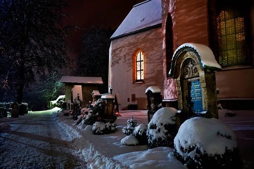 Old church at night in winter, Garmisch_Partenkirchen, Bavaria, Germany, Europe : Stock Photo