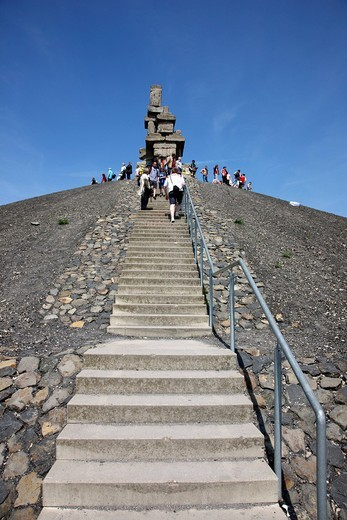 Top of the Halde Rheinelbe heap, work of art Himmelstreppe or Stairway to Heaven by artist Herman Prigann, monument made of concrete blocks, Gelsenkirchen_Ueckendorf, North Rhine_Westphalia, Germany, Europe : Stock Photo