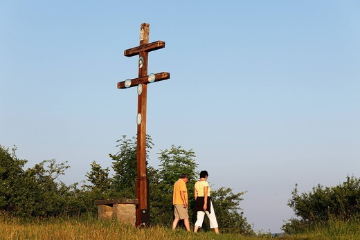 Stock Photo: 1848-530447 Double cross on Staffelberg mountain, Bad Staffelstein, Franconian Switzerland, Franconian Alb, Upper Franconia, Franconia, Bavaria, Germany, Europe
