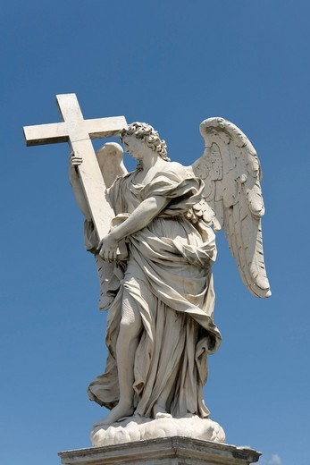 Stock Photo: 1848-530758 Angel with the cross, by Ercole Ferrata, one of the ten statues of angels with symbols of the Passion, design by Bernini, Ponte Sant´Angelo, Rome, Latium, Italy, Europe