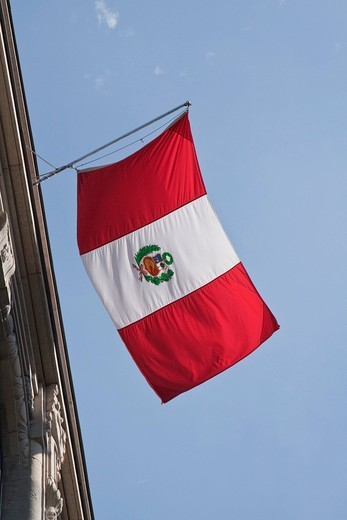 Stock Photo: 1848-530942 Flag of the Republic of Peru outside the embassy, Berlin, Germany, Europe