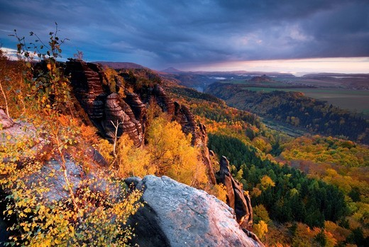 Stock Photo: 1848-530959 View from the Schramm Stones over the Elbe Valley, Elbe Sandstone Mountains, Saxon Switzerland, Saxony, Germany, Europe
