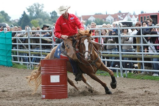 Barrel race, Pferdemesse Hipporama, horse fair, 27_29 August 2010, Dieburg, Hesse, Germany, Europe : Stock Photo