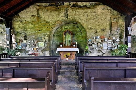 Our Lady of the Rock, a 500 year old pilgrimage shrine in Aachtobel Nature Reserve, Lake Constance District, Baden_Wuerttemberg, Germany, Europe : Stock Photo