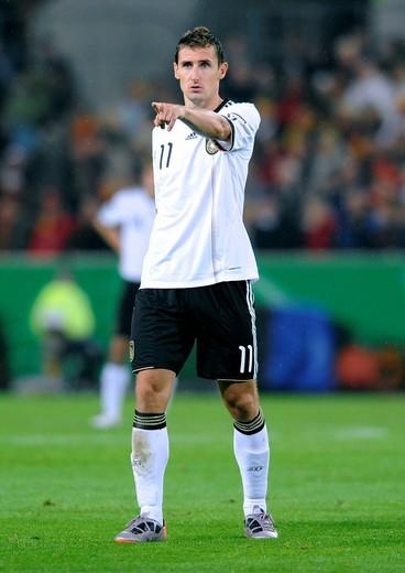 Miroslav Klose, qualifier for the UEFA European Football Championship 2012, Germany _ Azerbaijan 6:1, RheinEnergieStadion stadium, Cologne, North Rhine_Westphalia, Germany, Europe : Stock Photo