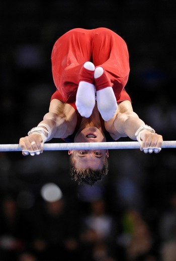 Jonathan Horton, USA, on the horizontal bar, EnBW Gymnastics World Cup 2010, 28th DTB_Cup, Stuttgart, Baden_Wuerttemberg, Germany, Europe : Stock Photo
