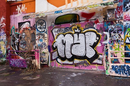 Graffiti, Alter Schlachthof building, Wiesbaden, Hesse, Germany, Europe : Stock Photo