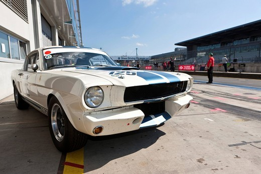 Stock Photo: 1848-531481 Ford Mustang, pit lane, Oldtimer Grand Prix 2010 at Nuerburgring race track, a classic car race, Rhineland_Palatinate, Germany, Europe