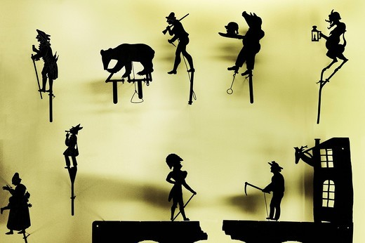 Shadow theatre figures in the puppet theatre collection, Stadtmuseum, city museum, Munich, Bavaria, Germany, Europe : Stock Photo